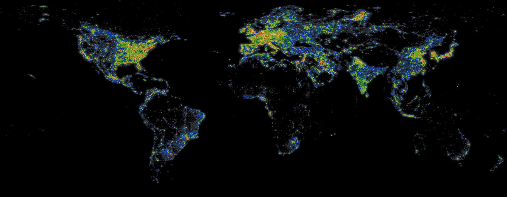 World Light Map Light Pollution Atlas 2006